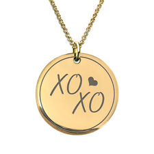 XOXO Kiss 18 K Gold Plated Laser Engraved Pendant Necklace