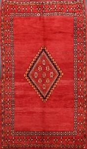 Antique RED Geometric Moroccan Oriental Area Rug Hand-knotted Wool Carpet 6x9 ft
