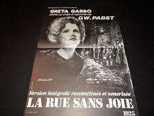 LA RUE SANS JOIE !  gw. pabst greta garbo  affiche cinema prostitution
