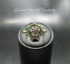 9K Gold 9ct Gold Aquamarine and Diamond Cluster Ring Size N 2.6g