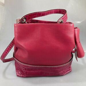 Tommy Hilfiger Pink Faux Croc Swinger Satchel Crossbody Bag + Coin Purse NEW