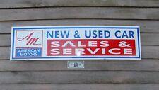 "NEW! 1960-ish AMERICAN MOTORS DEALER/SERVICE/CARS 3 COLOR SIGN/GARAGE ART1'x46"""