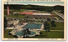Postcard TN Kingsport Legion Pool Civic Auditorium Fred Johnson Park Linen R50