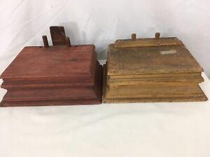 2 Antique Dresser Top Mirror Stand Hinged Lid Wood Glove Bin Storage Boxes
