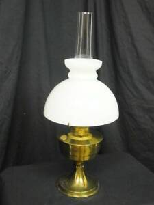 ALADDIN 23 BRASS OIL LAMP With FLUE & SHADE. With WICK.