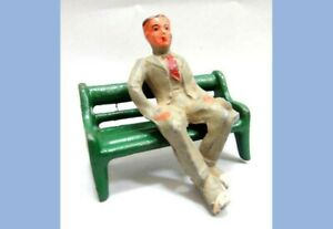 vintage 2pc CAST LEAD FIGURE made in usa SITTING MAN and PARK BENCH~41/3 marx