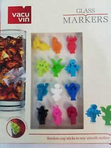 Vacu Vin Party People Wine Drinking Glass Markers Set of 12 silicone figures NEW