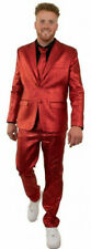 ★ Weichnachten Rot Sakko Kostüm Metallic Herren 40-62 Partyanzug Sylvester