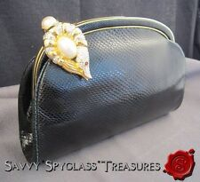 Judith Leiber Crystal & Pearl Fish Clasp Black Snakeskin Purse with Accessories