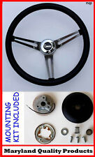 "1968 Chevrolet Camaro GRANT Black Steering Wheel 15"" Stainless Steel Spokes"