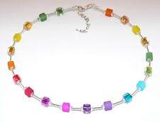 MODISCHE KETTE Würfelkette BUNT matt glanz multicolor Halskette CUBE COLLIER 014