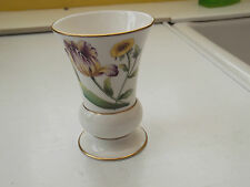 SMALL CHINA  VASE  PURPLE / YELLOW  FLOWERS  OUTLINE OF FLOWERS ON BACK