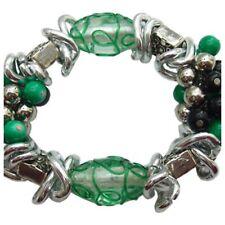 Green Lampwork, Porcelain Beads & Aluminum Chain Stretch Bracelet, Size Medium