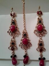 REDUCED!GOLD PLATED ear rings and tikka set /diamante/silver/gold