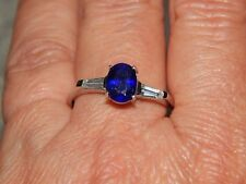 MOASOAL SAPPHIRE & NATURAL WHITE CAMBODIAN ZIRCON RING-SIZE K-2.250 CARATS