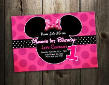 8 designs !! MINNIE MOUSE BIRTHDAY PARTY INVITATION dots pink custom INVITE b5