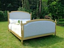 More details for vintage french louis double bed frame - grey check fabric - gold frame