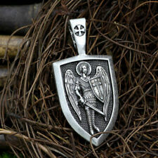 "large ST MICHAEL PROTECT TEMPLAR pendant 20"" Sterling Silver 925 necklace men"