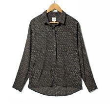 NEW REISS Women's Black Brown Gold Pattern Diamante Studs MURIEL Shirt blouse 12