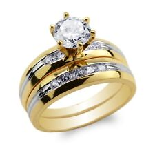 Womens Set 10K/14K Yellow Gold Two Tone Lines Round CZ Engagement Ring Size 4-9