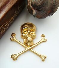 BRASS Extra Large Gothic SKULL & BONES Stamping - Jewelry Findings (C-501)