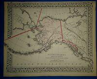 Vintage 1873 ALASKA - NORTH WESTERN AMERICA MAP Old Antique Original Atlas Map