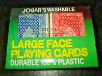 JOBABS WASHABLE LARGE FACE Royal 100% Plastic Playing Cards Plastic Case Vintage