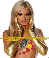 Cool Golden Fetish Night Party Gloves PVC Latex Wet Look Coat of Paint UK Seller