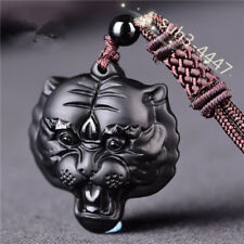Tiger head Pendant Chinese Natural Obsidian Necklace Fashion Charm Jewelry Gifts