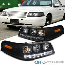 For 98-11 Ford Crown Victoria Black SMD LED Strip Projector Headlights Head Lamp