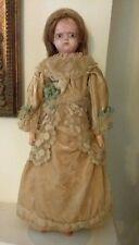 """Antique Motschmann Type Wax Over Paper Mache Doll, Wig Glass Eyes Org Dress, 18"""""""
