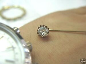 Fine Vintage Old Mine Cut Diamond Pin Yellow Gold 0.50CT