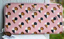 NWT Coach Checkered Heart Blush Pink Accordion Zip Wallet Clutch 25962 $250