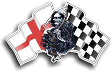 Grim REAPER Muerte Diseño con Inglaterra Inglés Bandera Vinilo Coche Pegatina 130x80mm