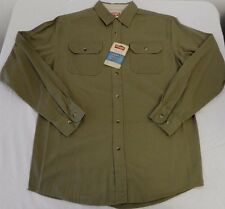 Men's Wrangler Long Sleeve Button Front Shirt Olive Size Small New W Tags