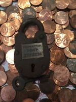 Vintage Style Padlock w Key Brass Lock Wild West 1800s NR Antique Pony Express