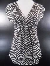 Beautiful Women's XS Michael Kors Multi-Color Zebra Skin Design SS Fitted Blouse