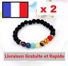 Lot 2 Bracelet Guérison 7 Chakras En Pierres Lave Lithothérapie Perle Naturelle