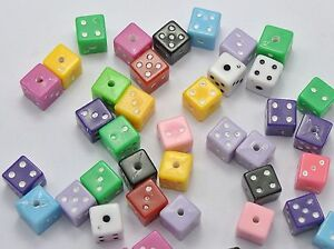 200 Mixed Opaque Colour Acrylic Cube Square Dice Beads 7X7mm Funny Jewelry