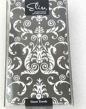 ELISE Guest Dinner Party Towel Napkins, PK/16 Fleur De Bees Regency Motif Black