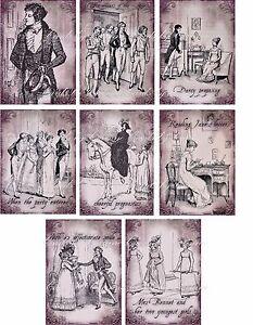 Vintage illustrations Jane Austen Pride and Prejudice stationery set w/envelopes