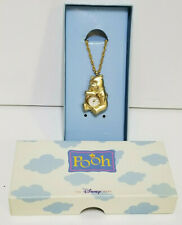 Disney Store Winnie The Pooh Watch Necklace Mickey on Back Gold Tone With Box