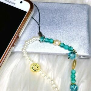 Phone chain strap beaded accessory butterfly green trendy bracelet charm