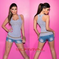 Womens NEW SEXY Ribbed Singlet Cotton with Glitter Stones Stretch Top Size 6-10