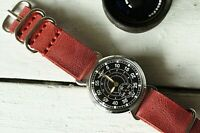 Vintage POBEDA RUSSIAN Soviet Watch MILITARY Mechanical leather strap
