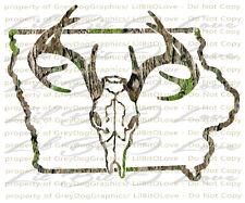 Camouflage Camo Iowa Buck Skull Deer Hunting Vinyl Decal Hunt Sticker