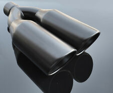 "Black Exhaust Muffler Tip Dual Round 5"" Double Slash Cut Truck Pickup 3"" ID"