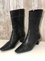 COLE HAAN Black Leather Zip Heeled Mid Calf Fashion Boots Bootie Size 7B