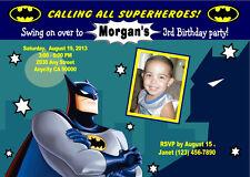 BATMAN SUPERHERO CUSTOM PHOTO BIRTHDAY PARTY INVITATION & FREE THANK YOU CARD