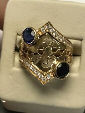 Beautiful 21KT Yellow Gold Handmade Unique Ornate Design Sapphire & CZ Ring 8.75